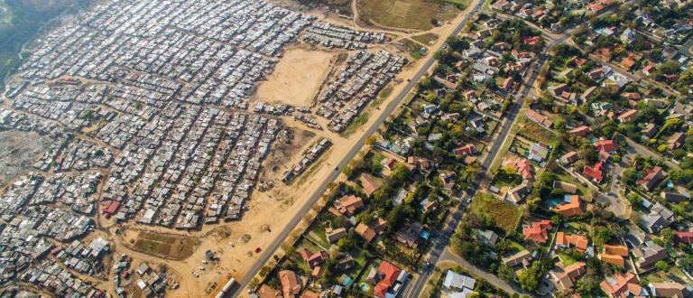 unequal wealth shown in drone aerial view