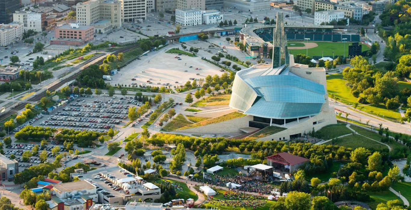 An aerial view of the Canadian Museum for Human Rights in summer time